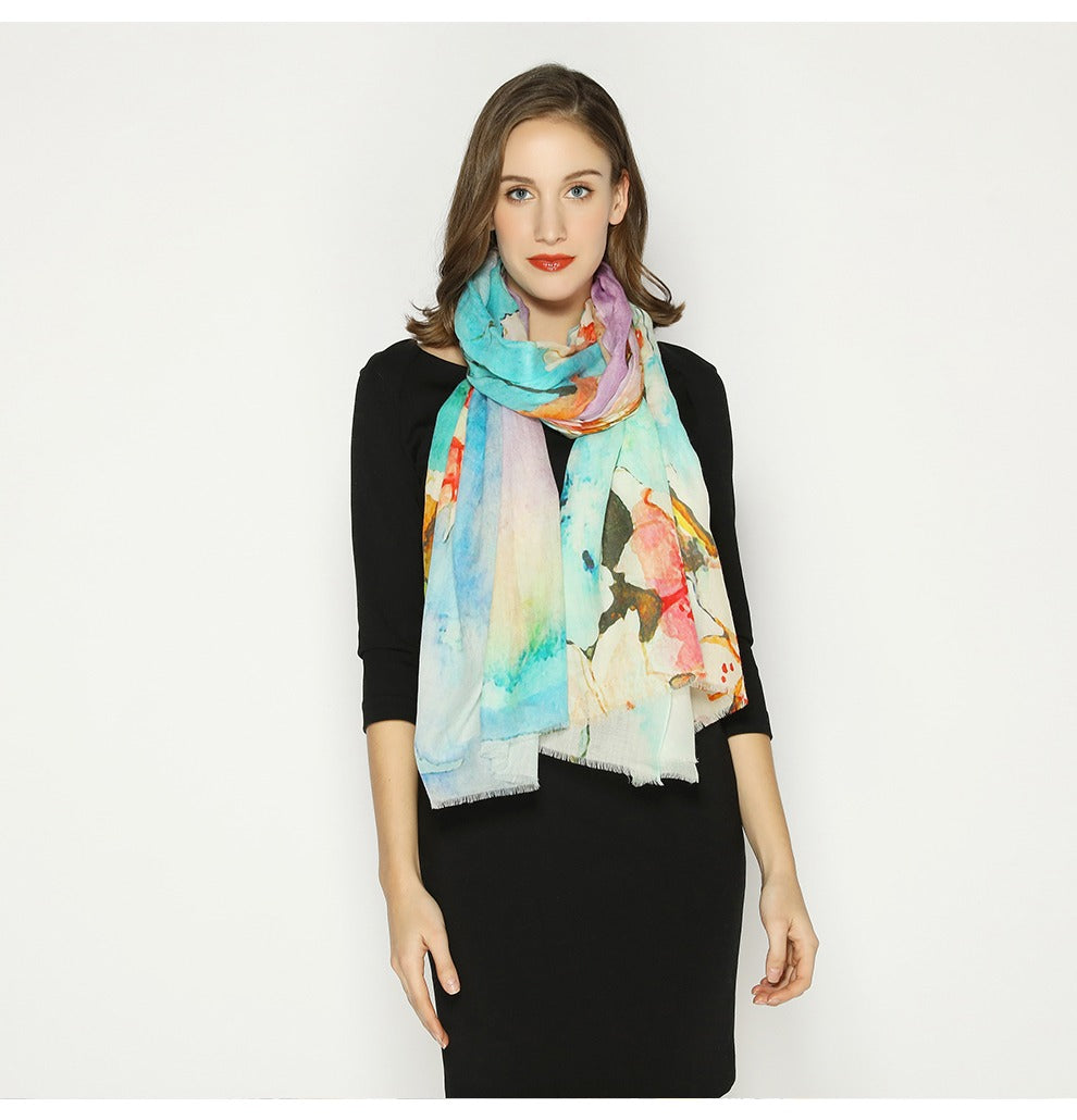 Floral Expression Wool Shawl