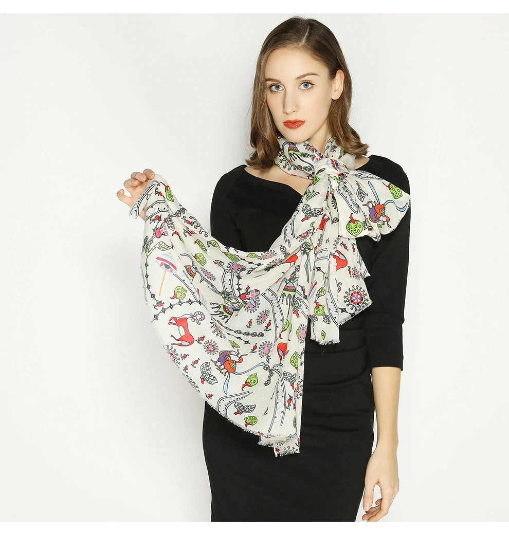 Botanical Paisley Wool Shawl