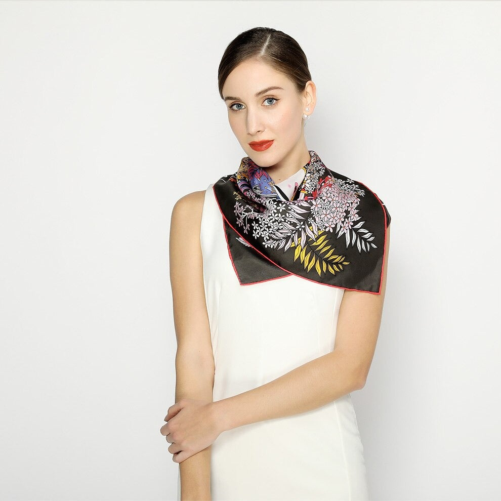 Mystical Feline Square Silk Scarf