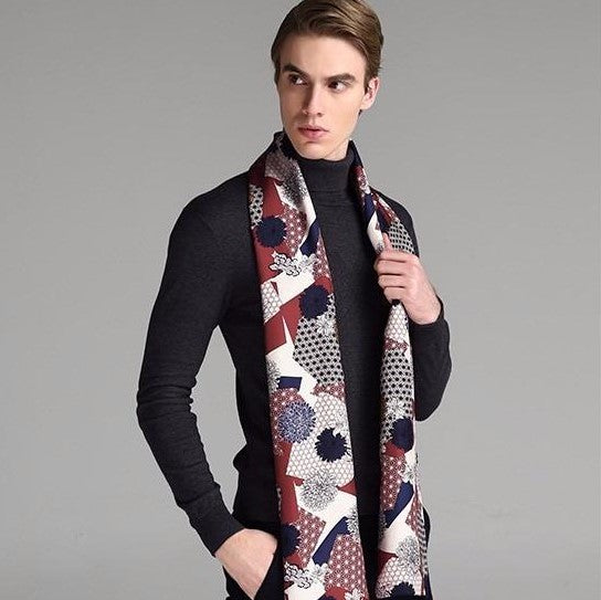 Cubist Collage Silk & Wool Double Layer Scarf