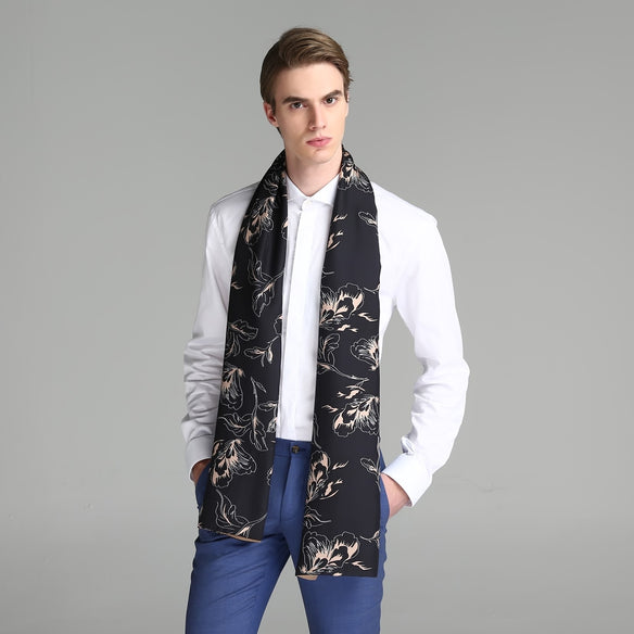 Night Blooms Silk & Wool Double Layer Scarf