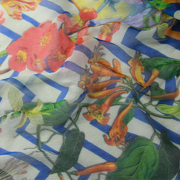 Botanical Burst Silk Chiffon Wrap