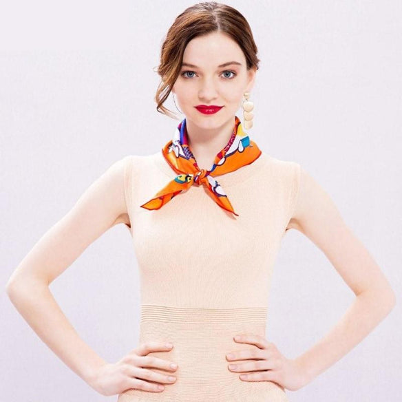 Cute Cubic Square Silk Neckerchief