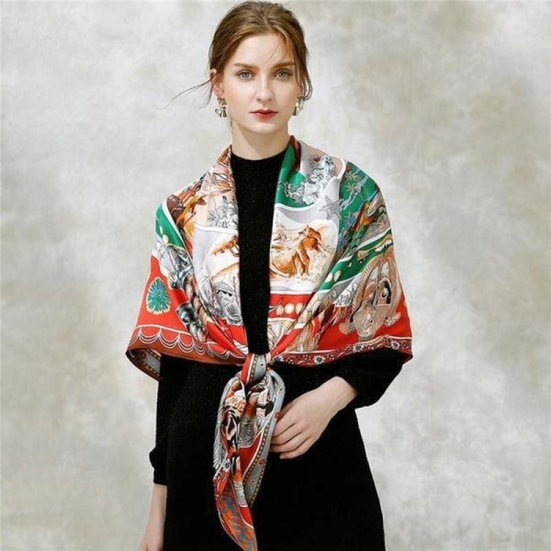 Feather Headdress Square Silk Scarf