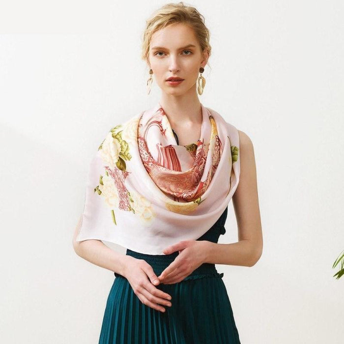 Fern Bouquet Square Silk Scarf