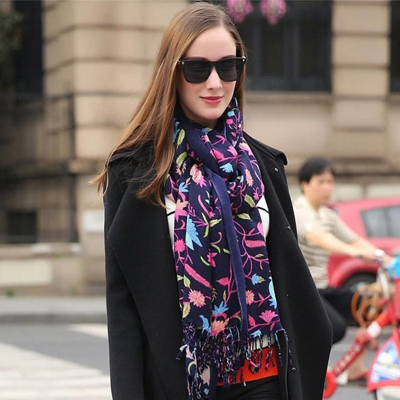 Navy Floral Wool Shawl