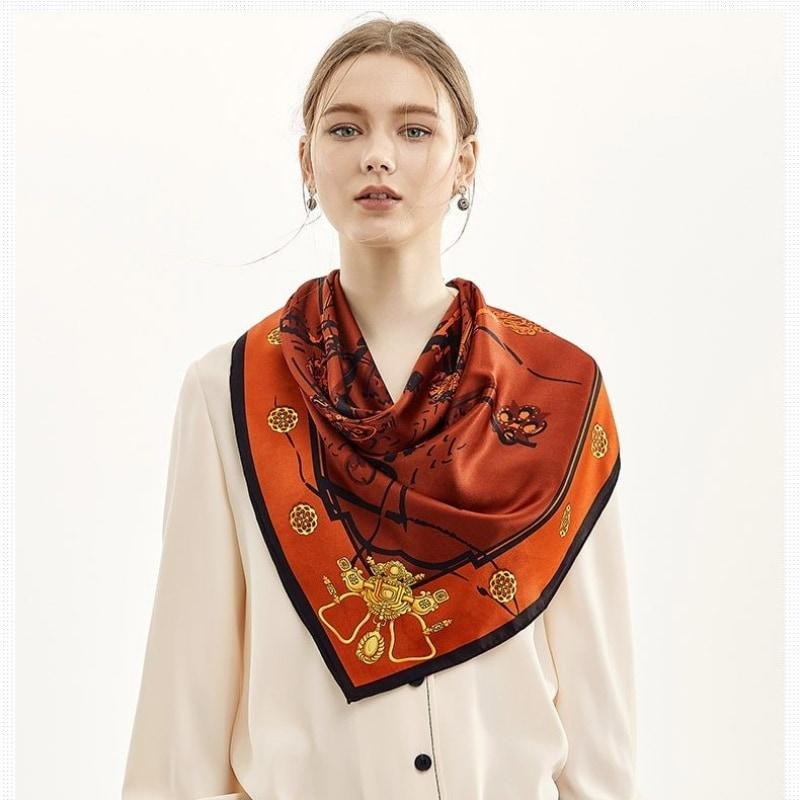 Ochre Key Square Silk Scarf