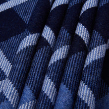 Precise Plaid Blue Wool Scarf