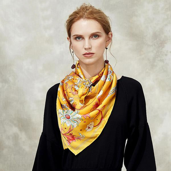 Windy Blossom Square Silk Scarf