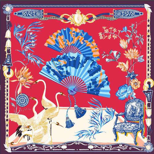 Floral Fanfare Square Silk Scarf