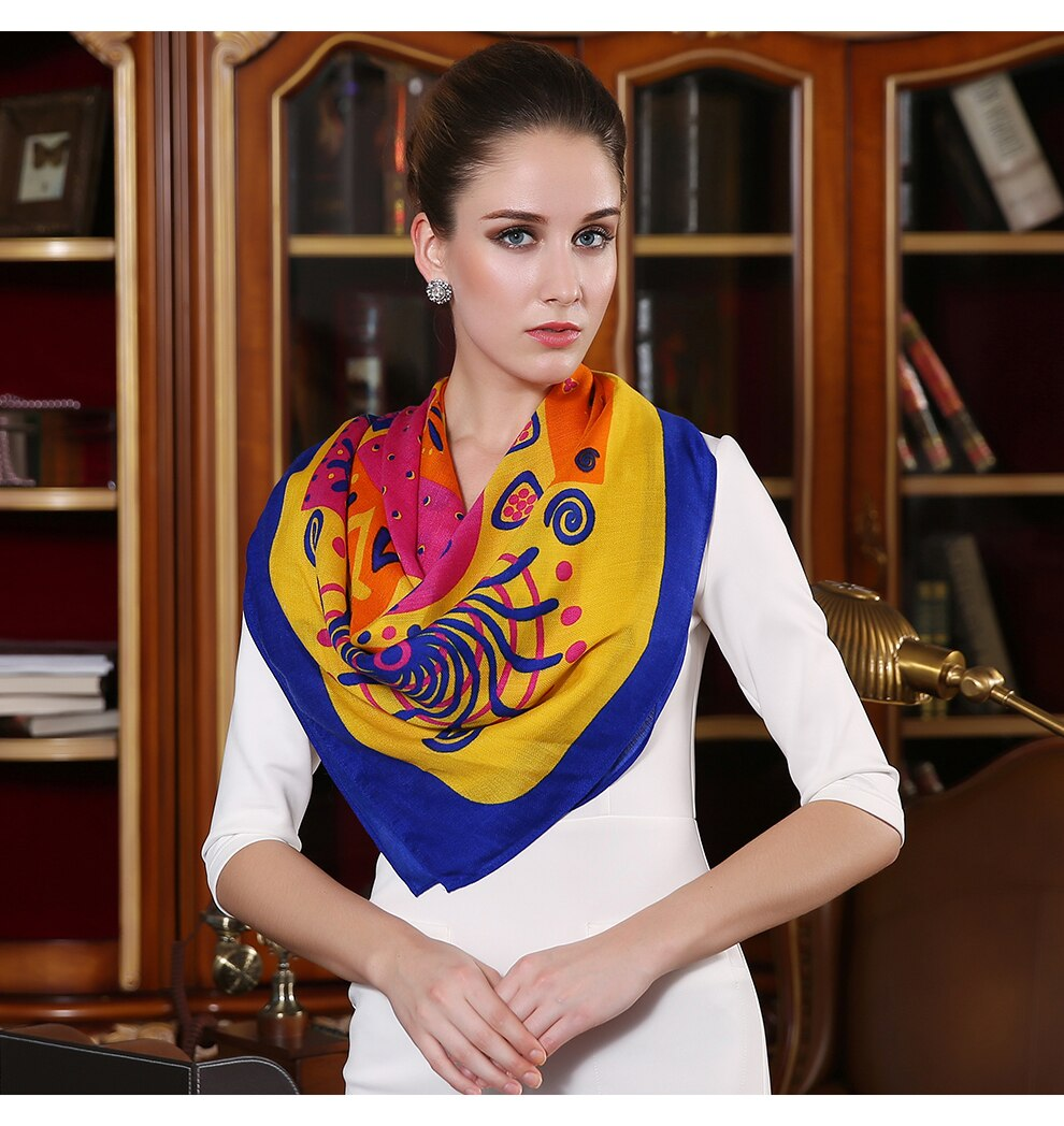 Abstract Azure Silk & Wool Wrap