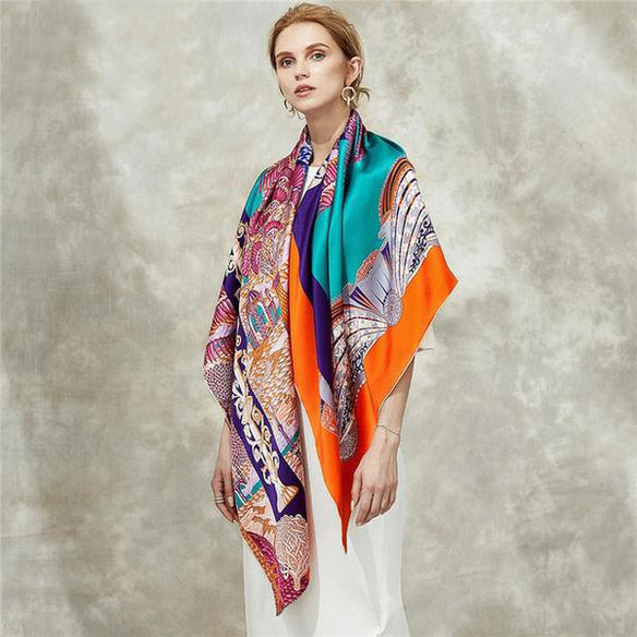 Palm Bliss Square Silk Scarf
