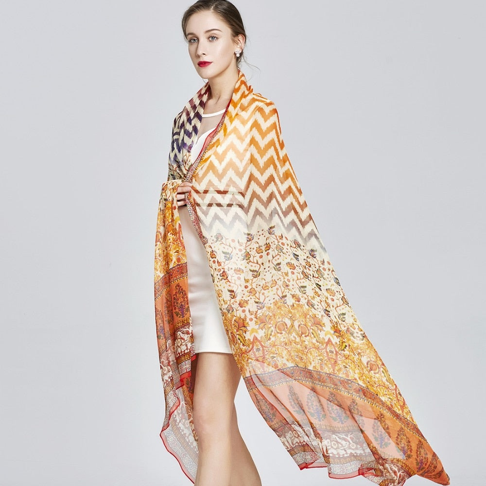Chevron Equinox Silk Chiffon Wrap
