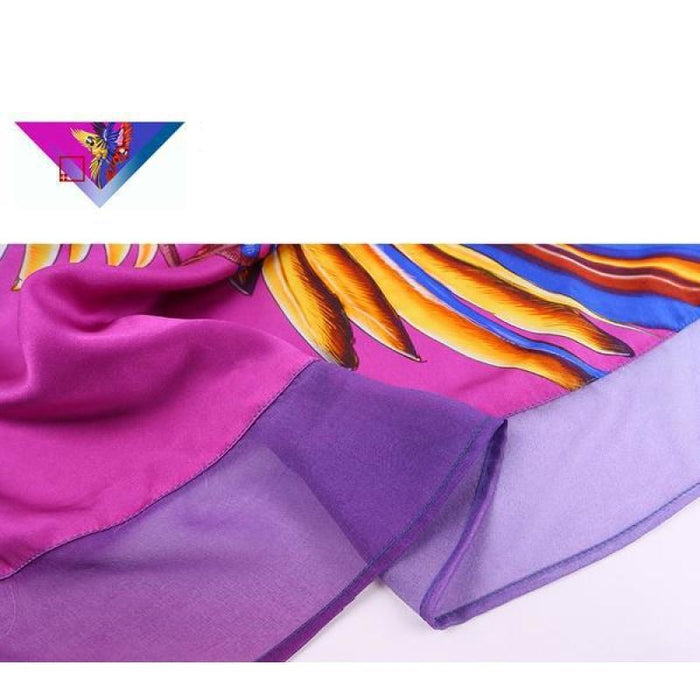Proud Parrot Two Tone Square Silk Scarf