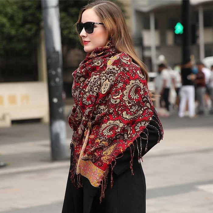 Rich Ruby Paisley Wool Shawl