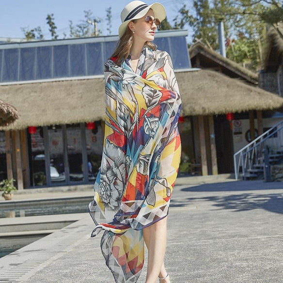 Flashy Floral Silk Chiffon Wrap