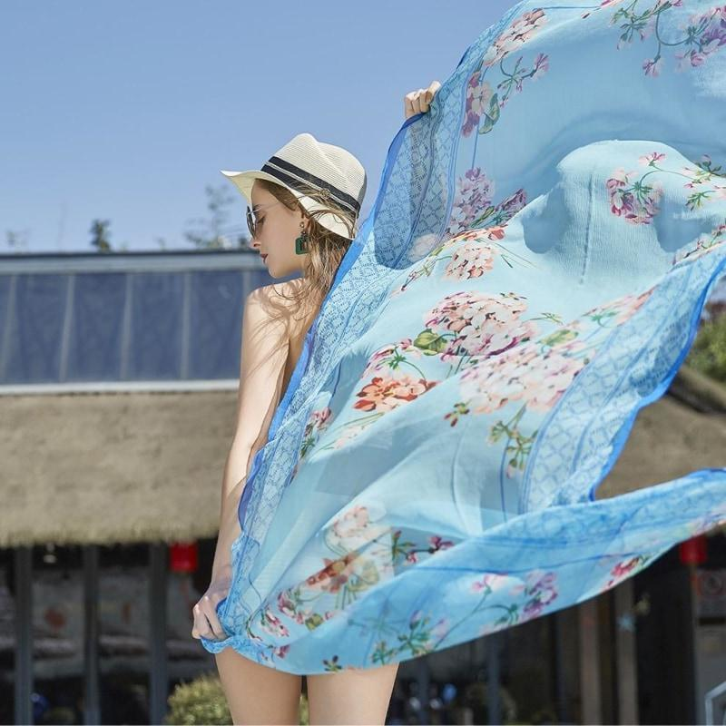 Summer Sky Silk Chiffon Wrap