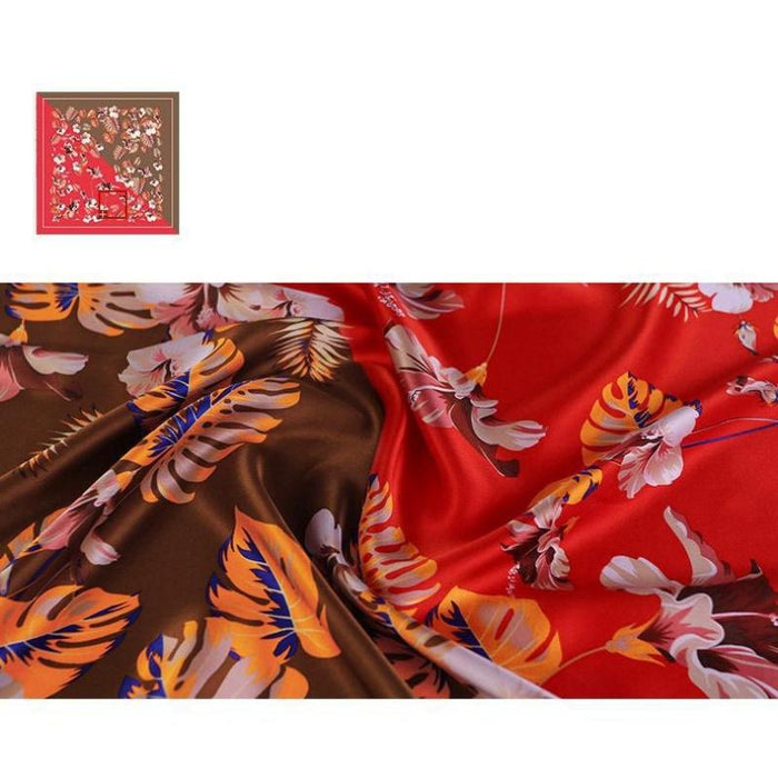 Two Tone Botanical Square Silk Scarf