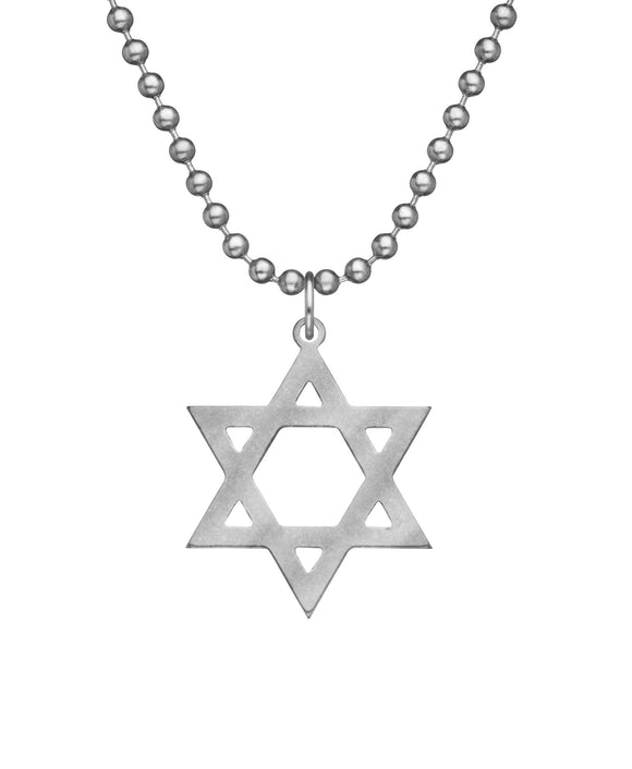 Genuine U.S. Military Issue Star of David Necklace with Dog Tag Chain