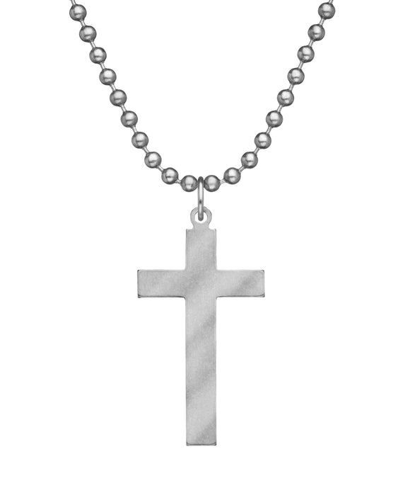 Genuine U.S. Military Issue Long Cross Necklace with Dog Tag Chain