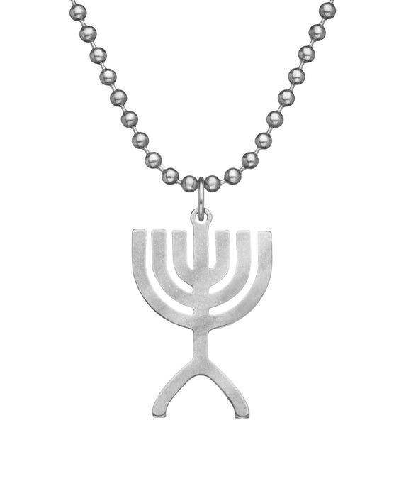 Genuine U.S. Military Issue Menorah Necklace with Dog Tag Chain