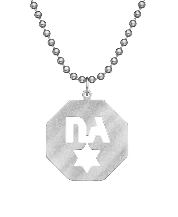 Genuine U.S. Military Issue Never Again Star Necklace with Dog Tag Chain