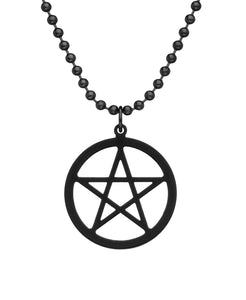Black Titanium Pentacle Necklace with Dog Tag Chain