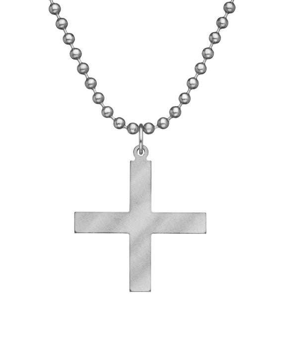 Genuine U.S. Military Issue Greek Cross Necklace with Dog Tag Chain