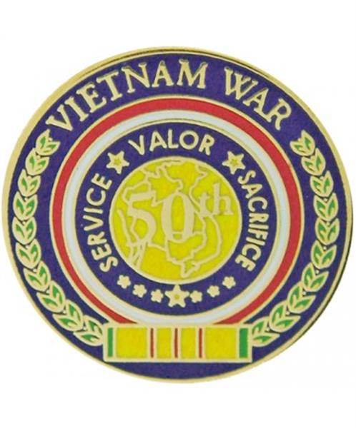 50th Anniversary Vietnam War Pin - Service Valor Sacrifice