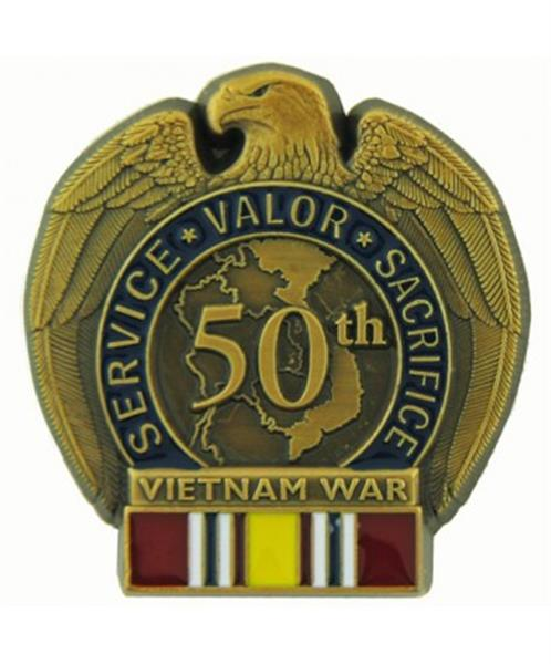 50th Anniversary Vietnam War Pin - National Defense Ribbon