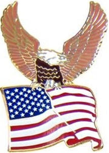 Eagle Carrying U.S. Flag Pin