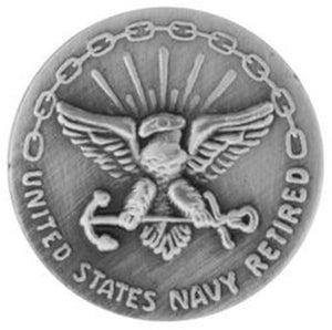 US Navy Retired 20 yrs SILVER OXIDE Small Pin Size 5-8""