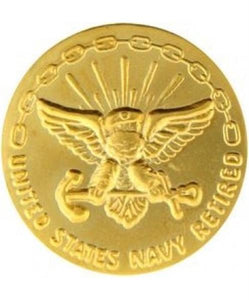 US Navy Retired 30 yrs GOLD Small Pin Size 5-8""