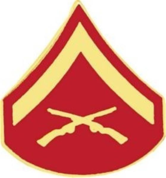 E-3 LCPL Hat Pin GOLD-RED