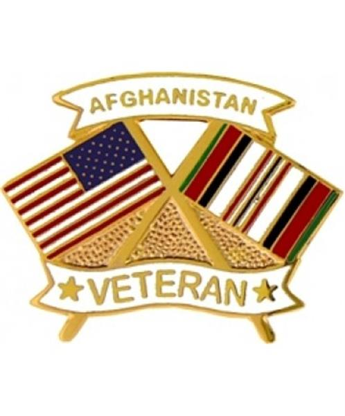 US Flag-Afghanistan Flag Veteran Small Hat Pin