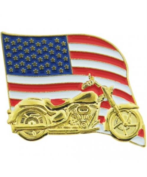U.S. Flag & Motorcycle Pin