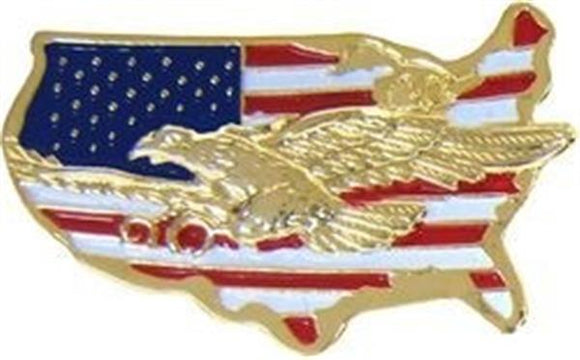 U.S. Map with American Eagle Pin
