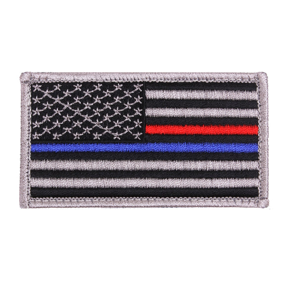 Rothco Thin Blue Line / Thin Red Line US Flag Patch - Hook Back