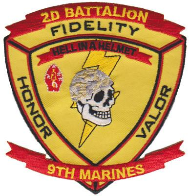 2nd Battalion 9th Marines Patch USMC Patch - Hell in a Helmet