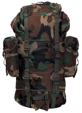 German Army Style Bundeswehr Large Combat Backpack - Woodland