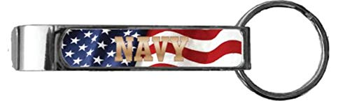 NAVY with Flag Background Bottle Opener