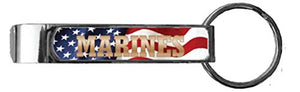 U.S. Marines with Flag Background Bottle Opener