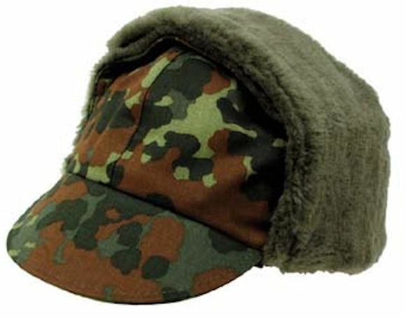 German Army Bundeswehr Winter Cap Flecktarn Camo - NEW European Military Surplus