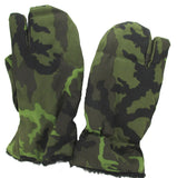Czechoslovakian Military Winter Gloves - Woodland Camo - Trigger Finger Mittens