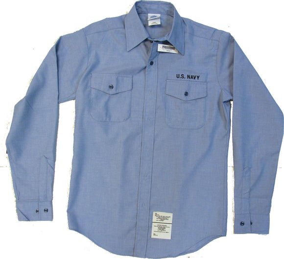 Men's U.S. Navy Utility Work Shirt CHAMBRAY - Long Sleeve - Size M-36SL