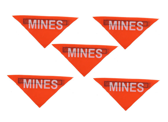 Lot of 5 Military Surplus MINES Flags - Minefield Marking Sign - NEON ORANGE