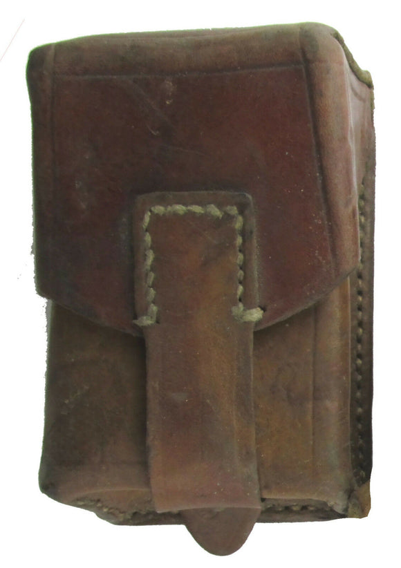 Serbian Leather Pouch with Brass Fastener - Military Surplus