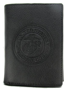 Officially Licensed U.S. Marine Corps Leather Wallet BLACK - Trifold with RFID Protection