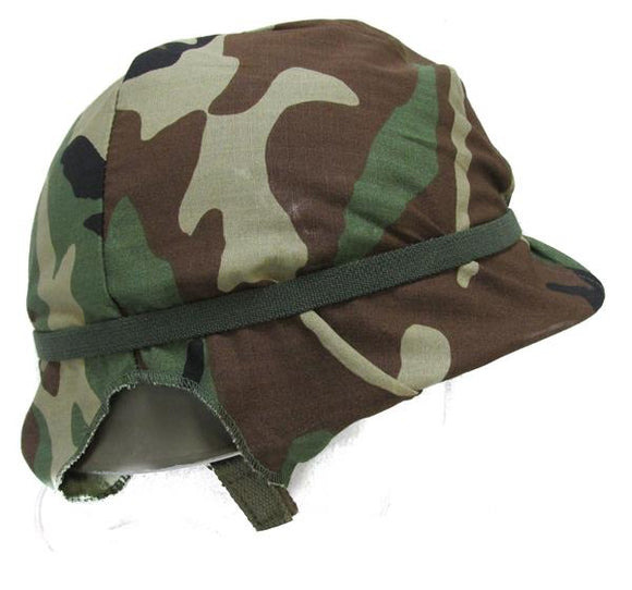 Military Surplus Steel Pot Helmet with Woodland Camo Cover