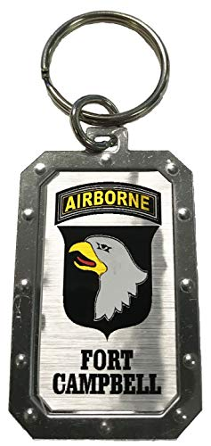 101st Airborne Ft Campbell Logo Silver Metal Key Chain